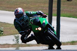 Sport bike - A Kawasaki sport bike at a track day at Lakeside International Raceway.
