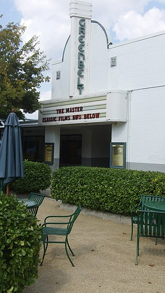 Greenbelt, Maryland - Old Greenbelt Theatre in September 2012. Opened on September 21, 1938, screening the film Little Miss Broadway with Shirley Temple