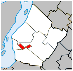 Location within Urban Agglomeration of Longueuil.