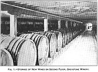 A large room filled with wine barrels