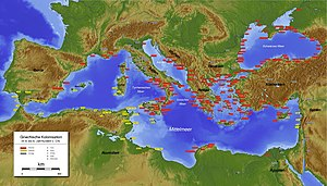 Ancient history - The Mediterranean in c. the 4th century BC. Phoenician cities are labelled in yellow, Greek cities in red, and other cities in grey.