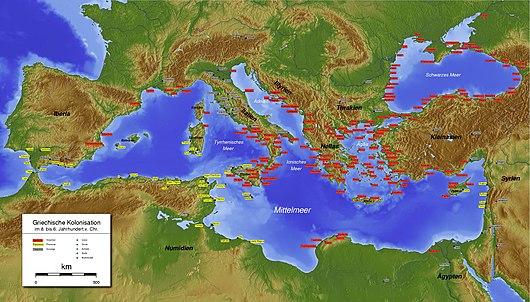 Il Mediterraneo intorno al IV secolo a.C. Gli insediamenti fenici sono colorati in giallo, quelli greci in rosso e quelli delle altre civiltà in grigio.