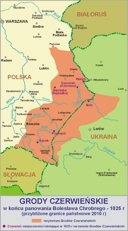 Grody Czerwieńskie w końcu panowania Bolesława Chrobrego - 1025 r. Fot. Wikimedia Commons, autor: Lonio17, lic. CC BY-SA 3.0.