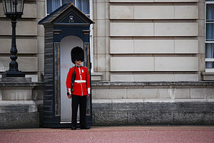 A sentry of the Welsh Guards at Buckingham Palace