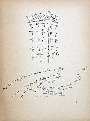 Calligrammes - Image: Guillaume Apollinaire, Calligramme