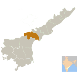 Location of Guntur district in Andhra Pradesh