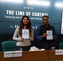 Gurmehar Kaur and Happymon Jacob at a book launch in New Delhi with the author.jpg