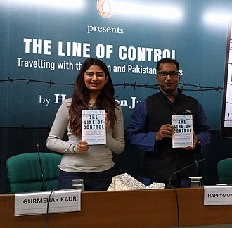 Gurmehar Kaur - Gurmehar Kaur (left) with the author Happymon Jacob at the book launch of The Line of Control: Travelling with the Indian and Pakistani Armies, at India Habitat Center, New Delhi.