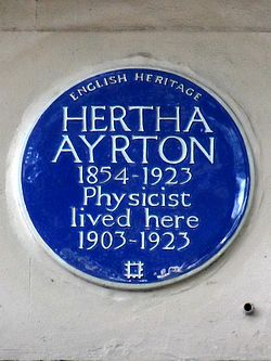 Hertha ayrton 1854 1923 physicist lived here 1903 1923