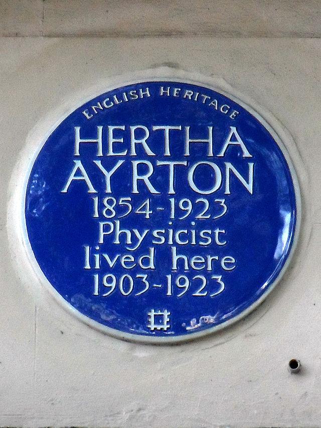 Hertha Ayrton blue plaque - Hertha Ayrton 1854-1923 physicist lived here 1903-1923