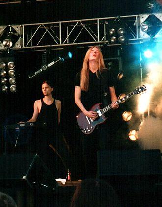 Linde Lindström - Linde Lindström (right) and Juska Salminen (left) performing with HIM at Provinssirock in June 1999