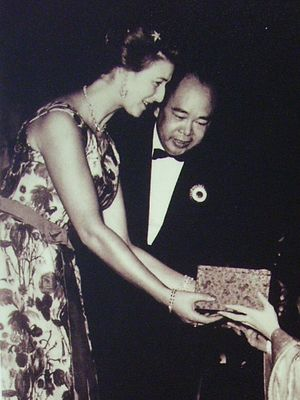 Princess Alexandra, The Honourable Lady Ogilvy - During her visit to Hong Kong in 1961, Princess Alexandra greets Cantonese opera performers Yam Kim-fai and Bak Sheut-sin after their performance of The Romance of the White Snake