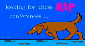 "Remote Imaging Protocol - A brown dog is ""looking for those RIP conferences...""  RIP Graphics image by John Kwasnik."