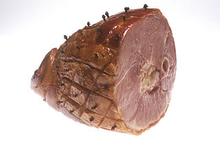 Ham Pork from a leg cut that has been preserved by wet or dry curing, with or without smoking