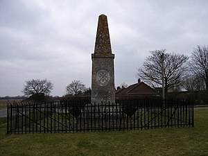 John Hampden - Hampden's Monument, Chalgrove. A monument to John Hampden, who was mortally wounded 550 yards north of here in 1643 whilst fighting in the English Civil War on Chalgrove Field.