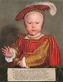 Painting of Prince Edward as a baby, depicted with regal splendour and a kingly gesture. He is dressed in red and gold, and a hat with ostrich plume. His face has delicate features, chubby cheeks and a fringe of red-gold hair.