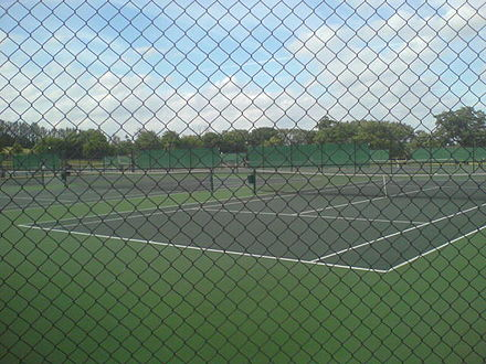 Harrow School has 24 tennis courts which include acrylic, hard and synthetic lawn which belong to Harrow Lawn Tennis Club (HLTC) Harrowtennis.jpg