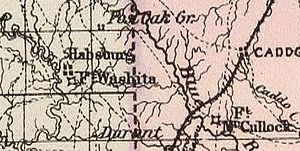 Fort Washita - 1887 map of Fort Washita and Hatsboro(Hatsburg)