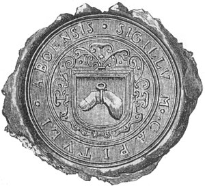 Henry's finger depicted in the seal of Bishopric of Turku from 1618. Henrik sormi.JPG