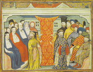 Henry IV of England - Henry of Bolingbroke, flanked by the lords spiritual and temporal, claims the throne in 1399. From a contemporary manuscript, British Library, Harleian Collection