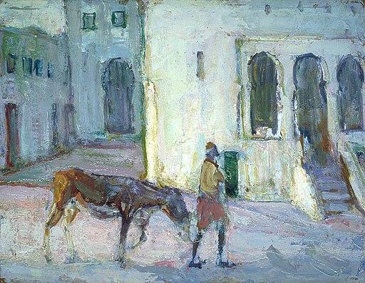 Henry Ossawa Tanner - Street Scene, Tangier (Man Leading Calf)