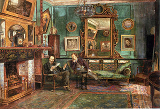 Dante Gabriel Rossetti reading proofs of Sonnets and Ballads to Theodore Watts-Dunton in the drawing room at 16 Cheyne Walk, London
