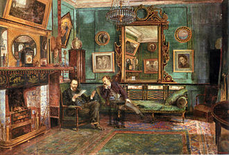 Victorian decorative arts - Dante Gabriel Rossetti's drawing room at No. 16 Cheyne Walk, 1882, by Henry Treffry Dunn.