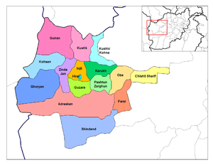Shindand District (in south) on Herat province map