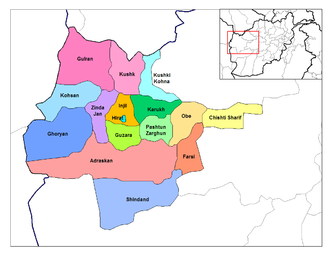 Shindand District - Shindand District (in south) on Herat province map