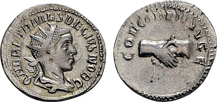 Coin of Herennius Etruscus. Inscription: HER. ETR. MES. DECIVS NOB. C. / CONCORDIA AVG. F Herennius Etruscus Coin .jpg