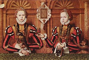 Eric V, Count of Hoya -  Eric's wife Armgard (left) and her sister Walburgis of Rietberg, detail of a family portrait by Hermann tom Ring