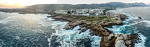 Hermanus - An aerial view of the Hermanus coastline.