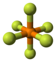 Ball-and-stick model of the hexafluorophosphate anion