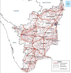 Road network in Tamil Nadu - Map indicating Highways network of Tamil Nadu