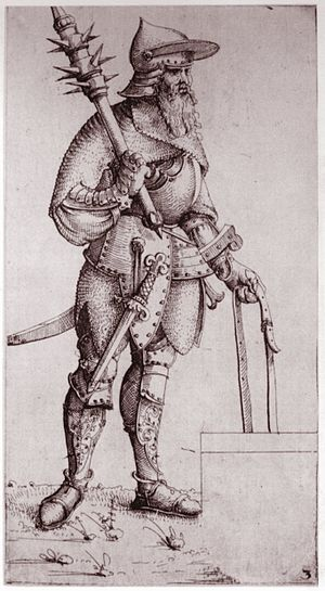 Schynbalds - King Sigismund of Poland wearing armor with schynbalds, from a period engraving.