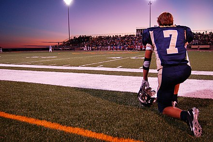 A high school football game in Texas. Hischool football sunset.jpg