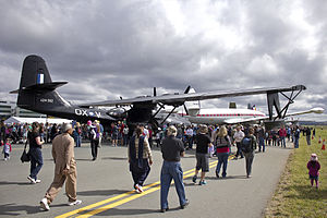 Historical Aircraft Restoration Society Consolidated PBY-6A Catalina (VH-PBZ) and Lockheed Super Constellation 'Connie' (VH-EAG) at the Canberra Airport open day.jpg