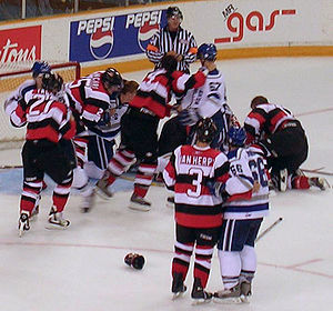 Fighting in ice hockey - A large fight in an OHL hockey game between the Sudbury Wolves and Ottawa 67s