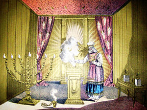 Holy of Holies - A Jewish High Priest wearing Hoshen and Ephod. The Holy of Holies is in the background.