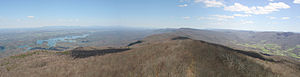 Holston Mountain - Panoramic view looking northeast towards Johnson County, TN along spine of Holston Mountain from Holston High Knob. South Holston Lake (Sullivan County, TN) is on the left and the Stony Creek Community (Northeast Carter County, TN) is on the right side.