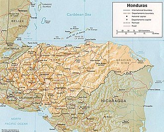 Gulf of Fonseca - Map showing position of the Gulf (bottom left) with respect to Honduras, El Salvador, and Nicaragua
