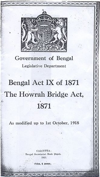 Howrah Bridge - The Howrah Bridge Act of 1871