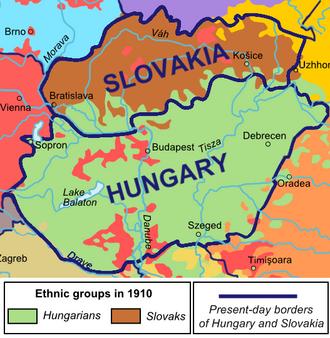 Hungary–Slovakia relations - Anachronistic pre-World War I language map, overlain with modern state borders.