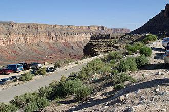 Supai, Arizona - Parking at Hualapai Hilltop, the trailhead for the 8-mile trail into Supai.