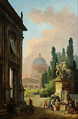 Imaginary View of Rome with the Horse Tamer of the Monte Cavallo and a Church
