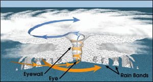 Outflow (meteorology) - Structure of a tropical cyclone.  The upper level outflow is depicted by cirrus clouds in the upper part of the schematic
