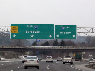 Interstate 88 (New York) - I-88 begins here at I-81 near Binghamton, and heads northeast toward New York's Capital District.