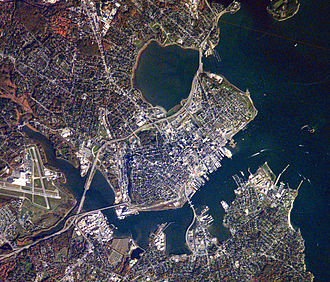 Back Cove, Portland, Maine - Back Cove (top) as seen in NASA astronaut photograph.