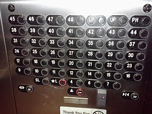 Storey - A large elevator panel in a North American high-rise omits several floors as well as designating three separate levels as penthouse floors.