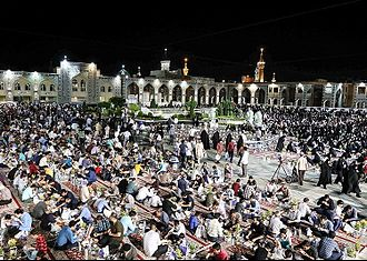 Iftar - Iftar serving for fasting people in the Imam Reza shrine